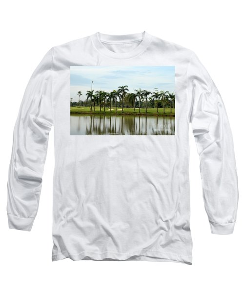 Lake Sand Traps Palm Trees And Golf Course Singapore Long Sleeve T-Shirt by Imran Ahmed