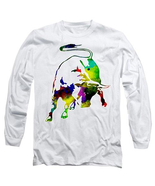 Lamborghini Bull Emblem Colorful Abstract. Long Sleeve T-Shirt