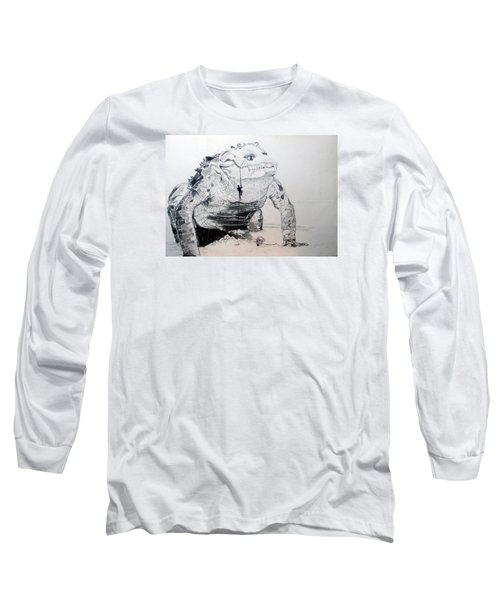 Long Sleeve T-Shirt featuring the drawing Landing by Lazaro Hurtado