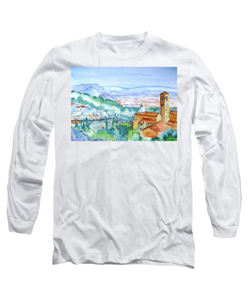 Tuscany Valley  Medieval Village Of Massa Long Sleeve T-Shirt by Trudi Doyle
