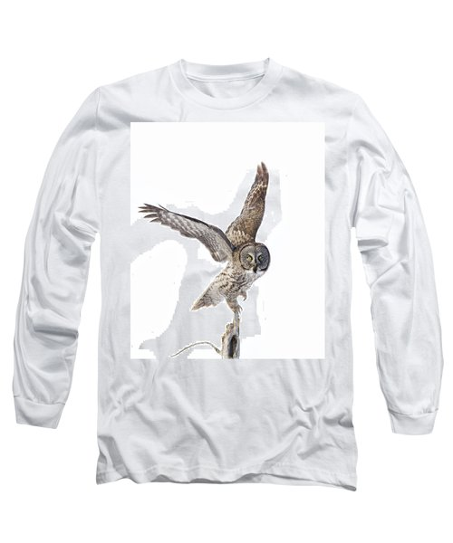 Lapland Owl On White Long Sleeve T-Shirt by Mircea Costina Photography