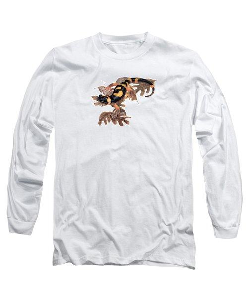 Large Blotched Salamander On Oak Leaves Long Sleeve T-Shirt by Cindy Hitchcock