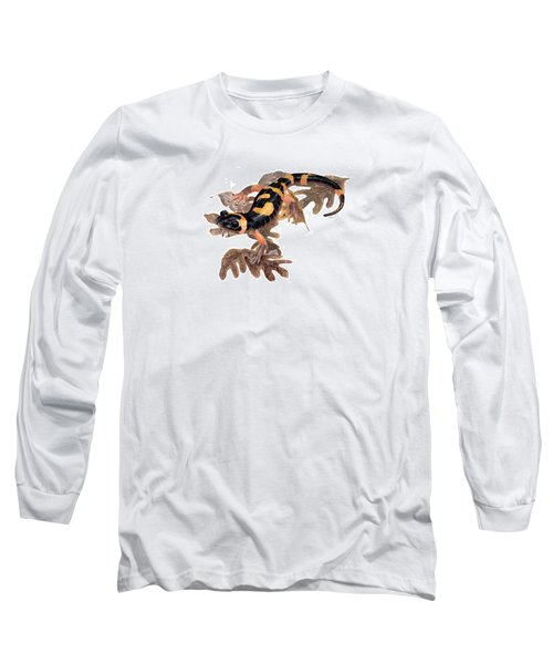 Large Blotched Salamander On Oak Leaves Long Sleeve T-Shirt