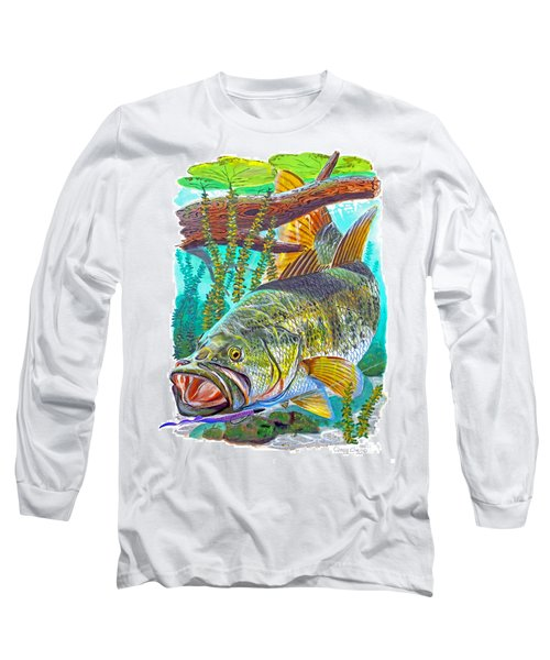 Largemouth Bass Long Sleeve T-Shirt by Carey Chen