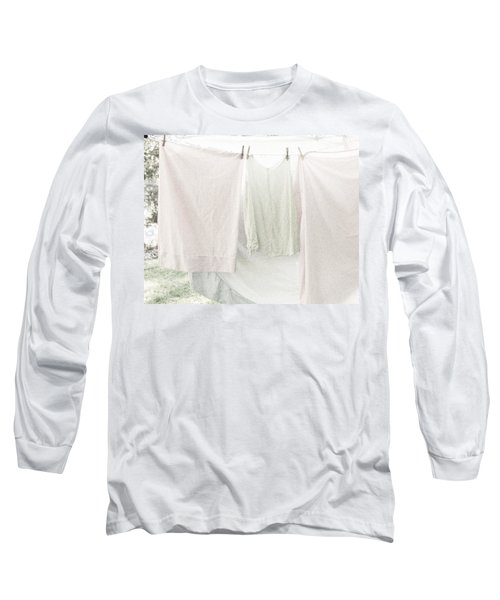 Long Sleeve T-Shirt featuring the photograph Laundry On The Line In Pink And Green by Brooke T Ryan