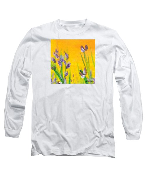 Long Sleeve T-Shirt featuring the painting Lavender - Hanging Position 1 by Val Miller