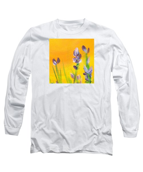 Long Sleeve T-Shirt featuring the painting Lavender - Hanging Position 3 by Val Miller