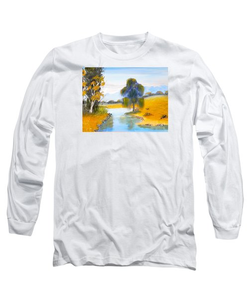 Long Sleeve T-Shirt featuring the painting Lawson River by Pamela  Meredith