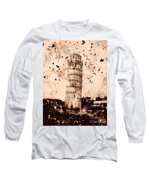 Leaning Tower Of Pisa Sepia Long Sleeve T-Shirt