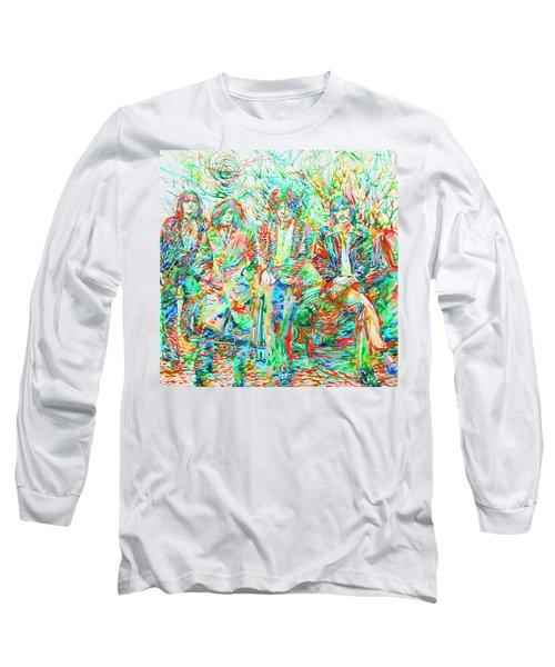 Led Zeppelin - Watercolor Portrait.1 Long Sleeve T-Shirt by Fabrizio Cassetta