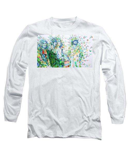 Led Zeppelin - Watercolor Portrait.2 Long Sleeve T-Shirt by Fabrizio Cassetta
