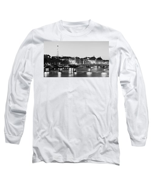 Left Bank At Night / Paris Long Sleeve T-Shirt