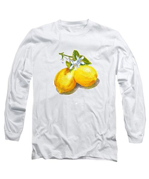 Long Sleeve T-Shirt featuring the painting Lemons And Blossoms by Irina Sztukowski