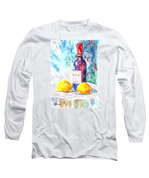 Long Sleeve T-Shirt featuring the painting Lemons And Wine And A Little Sunshine by Carol Wisniewski
