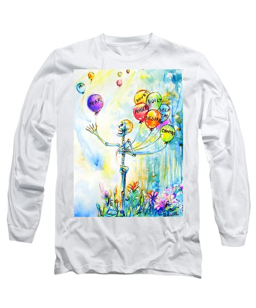 Long Sleeve T-Shirt featuring the painting Letting Go by Heather Calderon