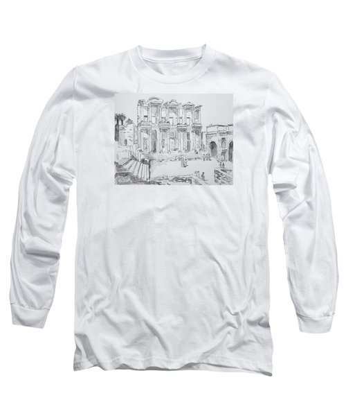 Library At Ephesus Long Sleeve T-Shirt by Marilyn Zalatan