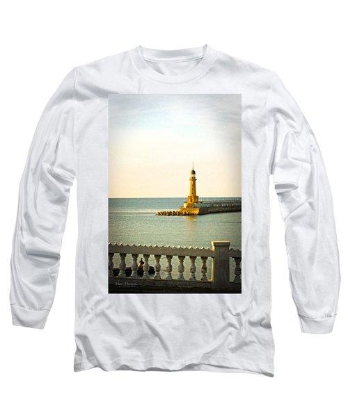 Lighthouse - Alexandria Egypt Long Sleeve T-Shirt by Mary Machare