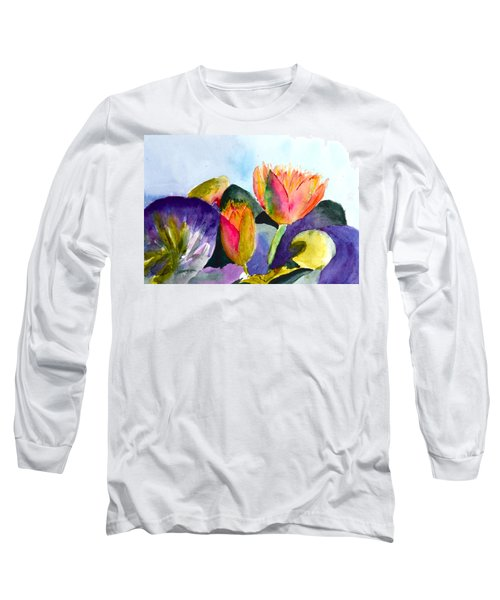 Lilies Of The Water Long Sleeve T-Shirt by Beverley Harper Tinsley