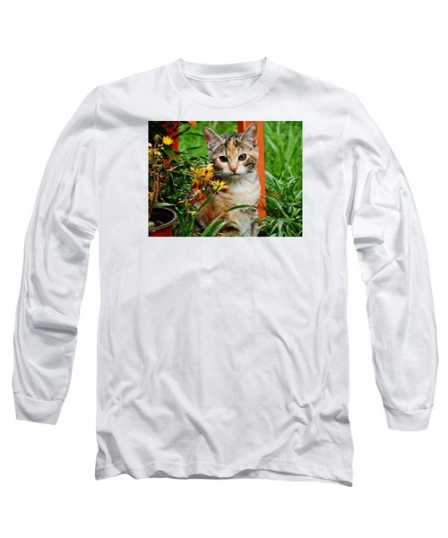 Long Sleeve T-Shirt featuring the photograph Lily Garden Cat by VLee Watson