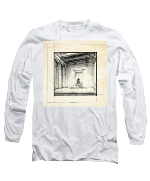 Lincoln Memorial Sketch IIi Long Sleeve T-Shirt by Gary Bodnar