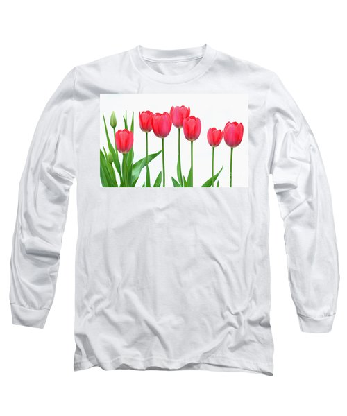 Long Sleeve T-Shirt featuring the photograph Line Of Tulips by Steve Augustin
