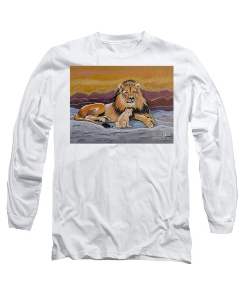 Long Sleeve T-Shirt featuring the painting Lion And Cub by Phyllis Kaltenbach