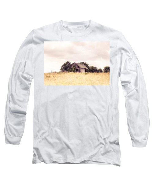 Long Sleeve T-Shirt featuring the photograph Little Old Barn In A Field - Landscape  by Gary Heller
