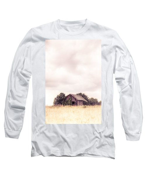 Long Sleeve T-Shirt featuring the photograph Little Old Barn In The Field - Ontario County New York State by Gary Heller