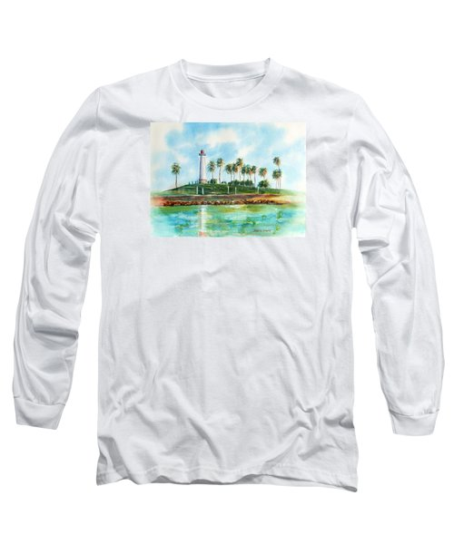 Long Beach Lighthouse  Version 2 Long Sleeve T-Shirt by Debbie Lewis