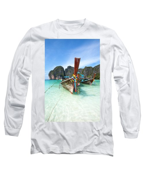 Long Tail Boats At Maya Beach - Ko Phi Phi - Thailand Long Sleeve T-Shirt