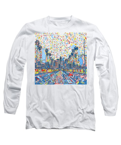 Los Angeles Skyline Abstract 3 Long Sleeve T-Shirt