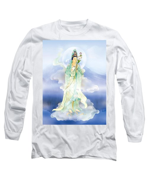 Long Sleeve T-Shirt featuring the photograph Lotus-holding Kuan Yin by Lanjee Chee