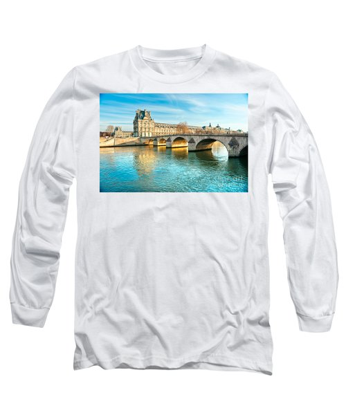 Louvre Museum And Pont Royal - Paris  Long Sleeve T-Shirt by Luciano Mortula