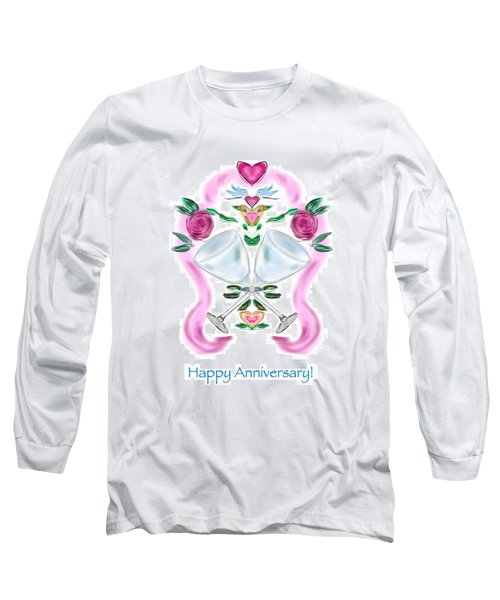 Long Sleeve T-Shirt featuring the digital art Love Birds Anniversary by Christine Fournier
