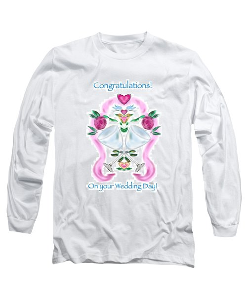 Long Sleeve T-Shirt featuring the digital art Love Birds White Wedding by Christine Fournier