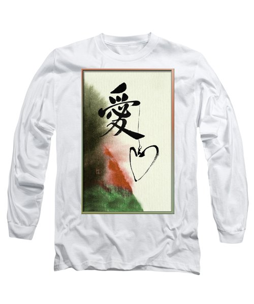 Love Brush Calligraphy With Heart Long Sleeve T-Shirt by Peter v Quenter