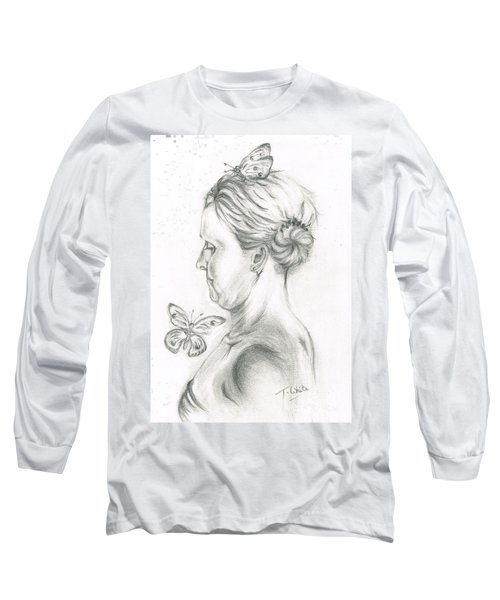 Long Sleeve T-Shirt featuring the drawing Loves- Her Butterflies by Teresa White