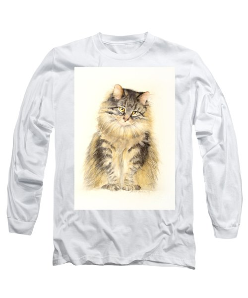 Long Sleeve T-Shirt featuring the painting Maine Coon Cat by Bonnie Rinier