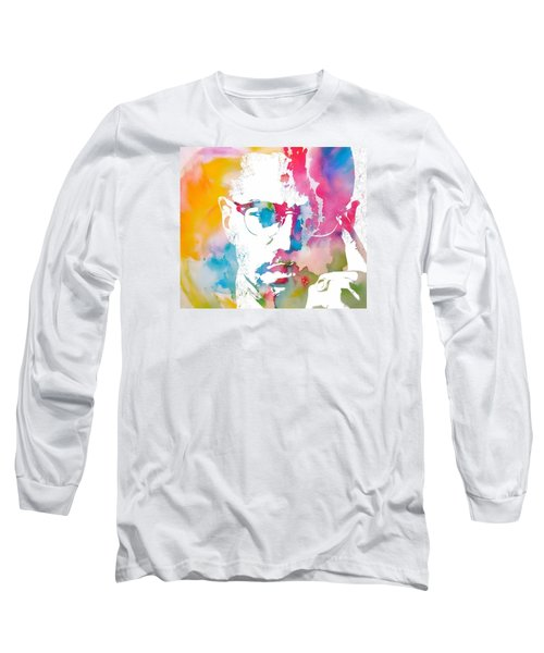 Malcolm X Watercolor Long Sleeve T-Shirt by Dan Sproul