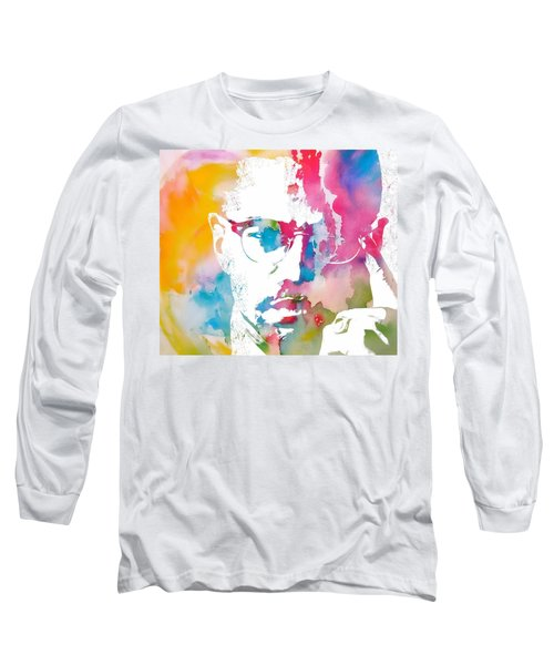 Malcolm X Watercolor Long Sleeve T-Shirt