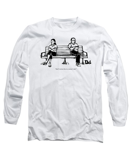 Man And Woman Sit On Bench Opposite One Another Long Sleeve T-Shirt