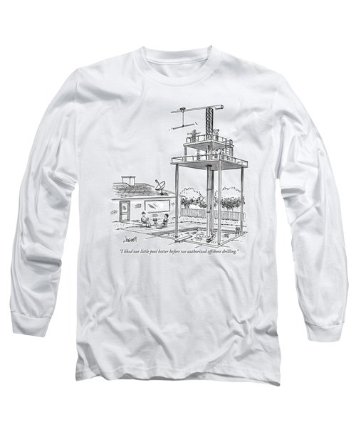Man And Woman Sitting In Their Backyard Long Sleeve T-Shirt