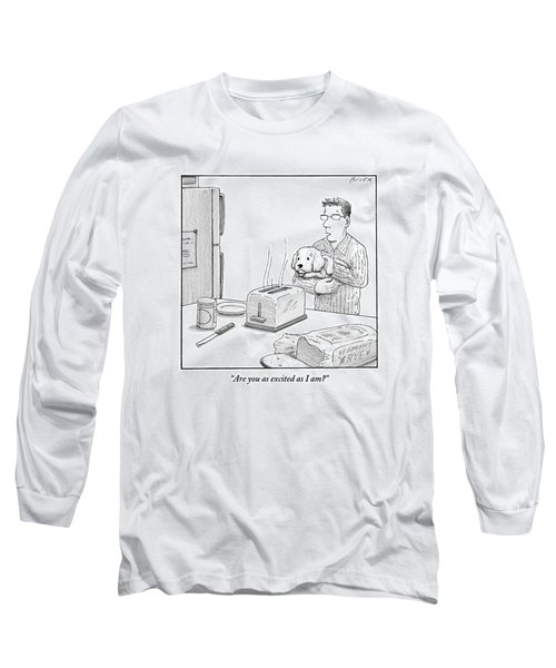 Man, Holding Dog, Speaks To Dog As Both Watch Long Sleeve T-Shirt