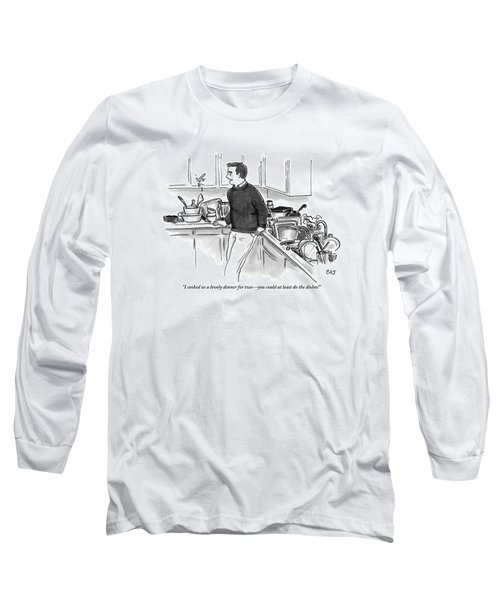 Man In Kitchen Surrounded By Dishes Long Sleeve T-Shirt