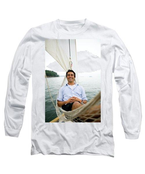 Man Smiling On Hammock Onboard Long Sleeve T-Shirt
