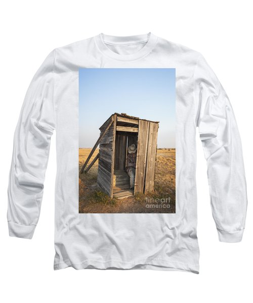 Mannequin Sitting In Old Wooden Outhouse Long Sleeve T-Shirt