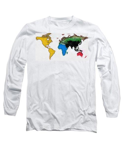 Map Digital Art World Long Sleeve T-Shirt by Georgi Dimitrov