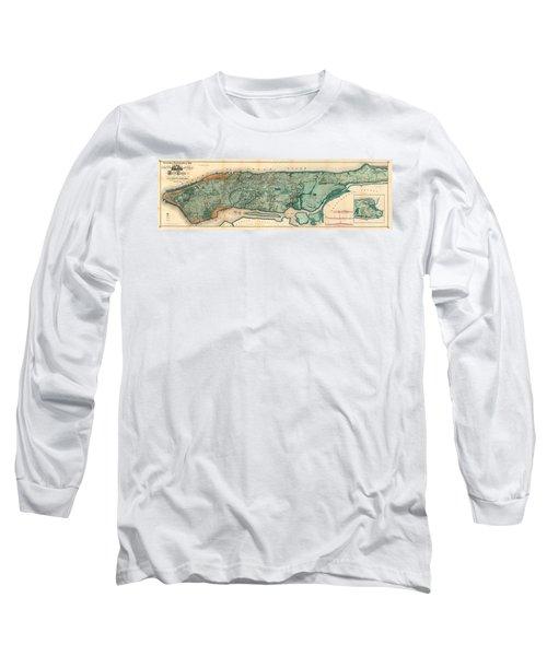 Map Of Manhattan Long Sleeve T-Shirt