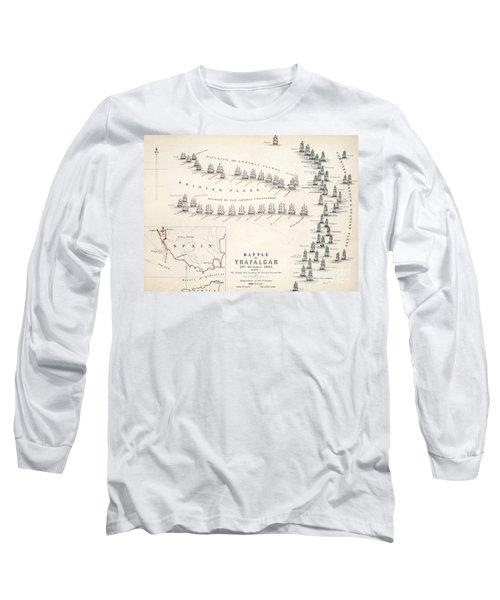 Map Of The Battle Of Trafalgar Long Sleeve T-Shirt