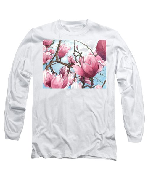 March Magnolia Long Sleeve T-Shirt by Barbara Jewell